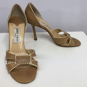 Jimmy Choo Peep Toe Shoes Tan & Cream SZ 38